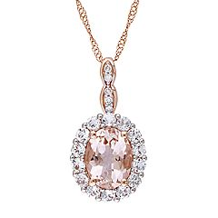 Stella Grace 14k Rose Gold Morganite, White Topaz & Diamond Accent Halo Pendant