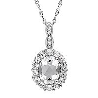 14k White Gold White Topaz & Diamond Accent Oval Halo Pendant