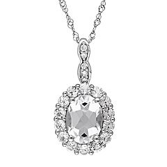 Stella Grace 14k White Gold White Topaz & Diamond Accent Oval Halo Pendant