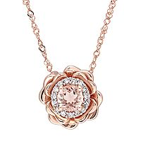 10k Rose Gold Morganite & Diamond Accent Flower Pendant