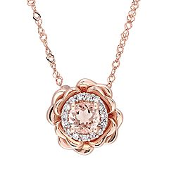 Stella Grace 10k Rose Gold Morganite & Diamond Accent Flower Pendant