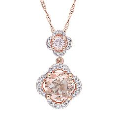 14k Rose Gold Morganite & 1/5 Carat T.W. Diamond Pendant