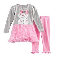 Toddler Girl Velboa Snowman Dress & Leggings Set