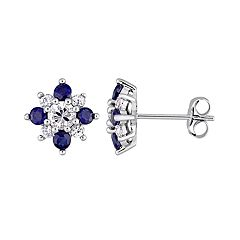 14k White Gold Blue & White Sapphire Floral Stud Earrings