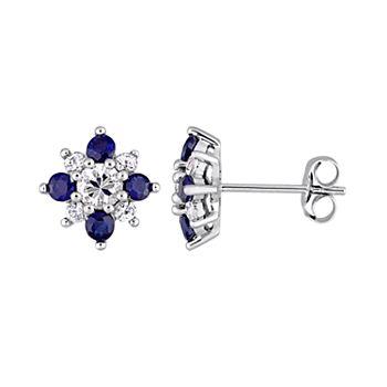 8c61985ea Stella Grace 14k White Gold Blue & White Sapphire Floral Stud Earrings