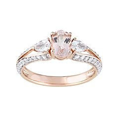10k Rose Gold Morganite & White Topaz 3-Stone Ring