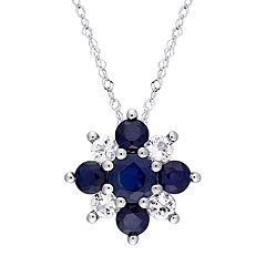 Stella Grace 14k White Gold Blue & White Sapphire Flower Pendant