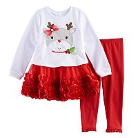 Toddler Girl French Terry & Rosette Reindeer Dress & Leggings Set