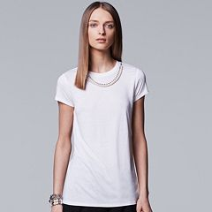 Women's Simply Vera Vera Wang 10th Anniversary Embellished Necklace Tee