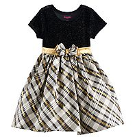 Toddler Girl Nannette Glittery Velvet & Plaid Dress