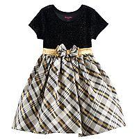 Toddler Girl Nannette Glittery Velvet & Plaid Dress