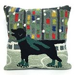 Liora Manne Frontporch Holiday Ice Dog Indoor Outdoor Throw Pillow