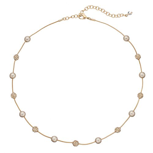 Napier Fireball Simulated Pearl Station Necklace