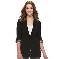 Juniors' Candie's® Roll-Tab Sleeve Long Blazer