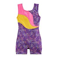 Girls 4-14 Jaques Moret Abstract Colorblock Biketard