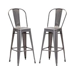 Zuo Modern Elio Industrial Bar Stool 2-piece Set
