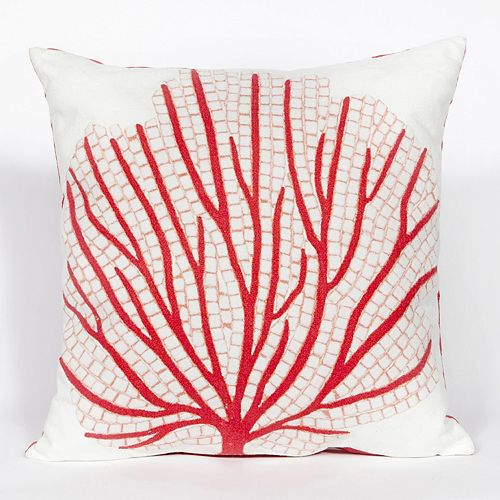 Liora Manne Visions III Coral Fan Indoor Outdoor Throw Pillow