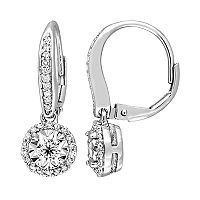 Sterling Silver 1/2 Carat T.W. Diamond Halo Drop Earrings