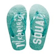 "Girls 4-16 ""Mermaid Squad"" Glitter Flip Flops"