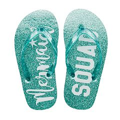 Girls 4-16 'Mermaid Squad' Glitter Flip Flops