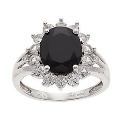 Sterling Silver Onyx & Lab-Created White Sapphire Split Shank Ring