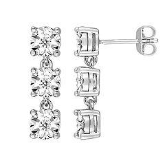 Stella Grace Sterling Silver 1/6 Carat T.W. Diamond Linear Drop Earrings