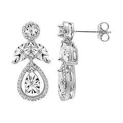 Stella Grace Sterling Silver 1/4 Carat T.W. Diamond Teardrop Halo Earrings