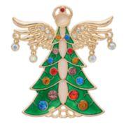 Gold Tone Christmas Tree Angel Pin