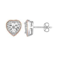 Stella Grace Two Tone Sterling Silver 1/10 Carat T.W. Diamond Heart Stud Earrings