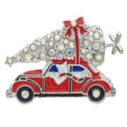 Silver Tone Christmas Tree Car Pin