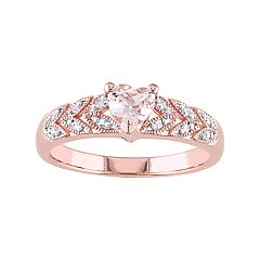 Stella Grace Rose Gold Tone Sterling Silver Morganite & Diamond Accent Heart Leaf Ring