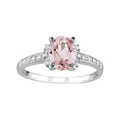 Stella Grace Sterling Silver Morganite & Diamond Accent Oval Ring