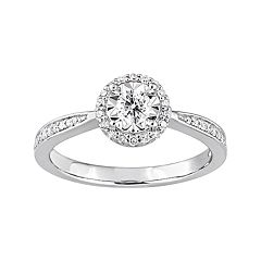 Stella Grace Sterling Silver 1/3 Carat T.W. Diamond Halo Ring