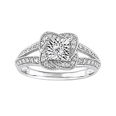 Sterling Silver 1/5 Carat T.W. Diamond Knot Ring