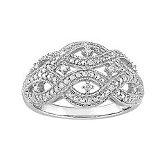Stella Grace Sterling Silver 1/8 Carat T.W. Diamond Twist Ring