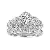 Sterling Silver 1/5 Carat T.W. Diamond Geometric Halo Ring Set