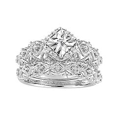 Stella Grace Sterling Silver 1/5 Carat T.W. Diamond Geometric Halo Ring Set