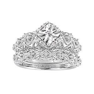 Stella Grace Sterling Silver 1/5 Carat T.W. Diamond Geometric Halo Ring Set