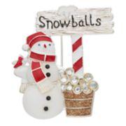 "Silver Tone ""Snowballs"" Snowman Pin"