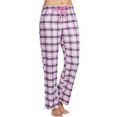 Women's Jockey Pajamas: Purple Plaid Flannel Long Pants