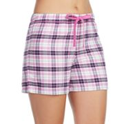 Women's Jockey Pajamas: Purple Plaid Flannel Boxer Shorts