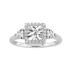 Stella Grace Sterling Silver 1/6 Carat T.W. Diamond Square Halo Ring