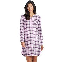 Women's Jockey Pajamas: Plaid Flannel Long Sleeve Sleep Shirt