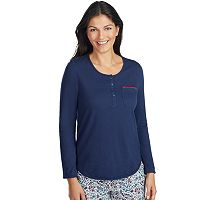Women's Jockey Pajamas: Long Sleeve Henley Top