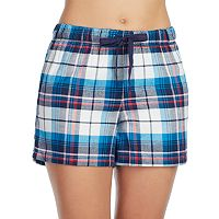 Women's Jockey Pajamas: Blue Plaid Flannel Boxer Shorts