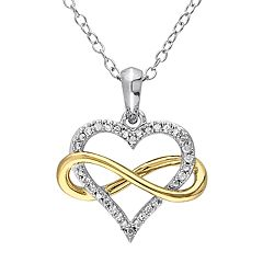 Two Tone Sterling Silver 1/10 Carat T.W. Diamond Infinity & Heart Pendant