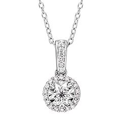 Sterling Silver 1/5 Carat T.W. Diamond Halo Pendant Necklace