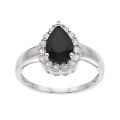 Sterling Silver Onyx & White Topaz Teardrop Ring