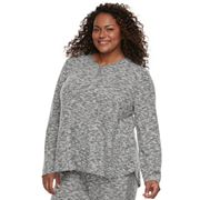 Plus Size Cuddl Duds Pajamas: Snow Days Long Sleeve Henley Top
