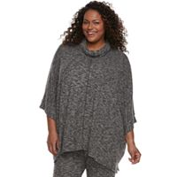 Plus Size Cuddl Duds Pajamas: Snow Days Funnel Neck Poncho
